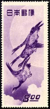 月に雁の切手
